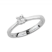 Platinum 0.2ct Solitaire Diamond Ring Four Claw V style mount